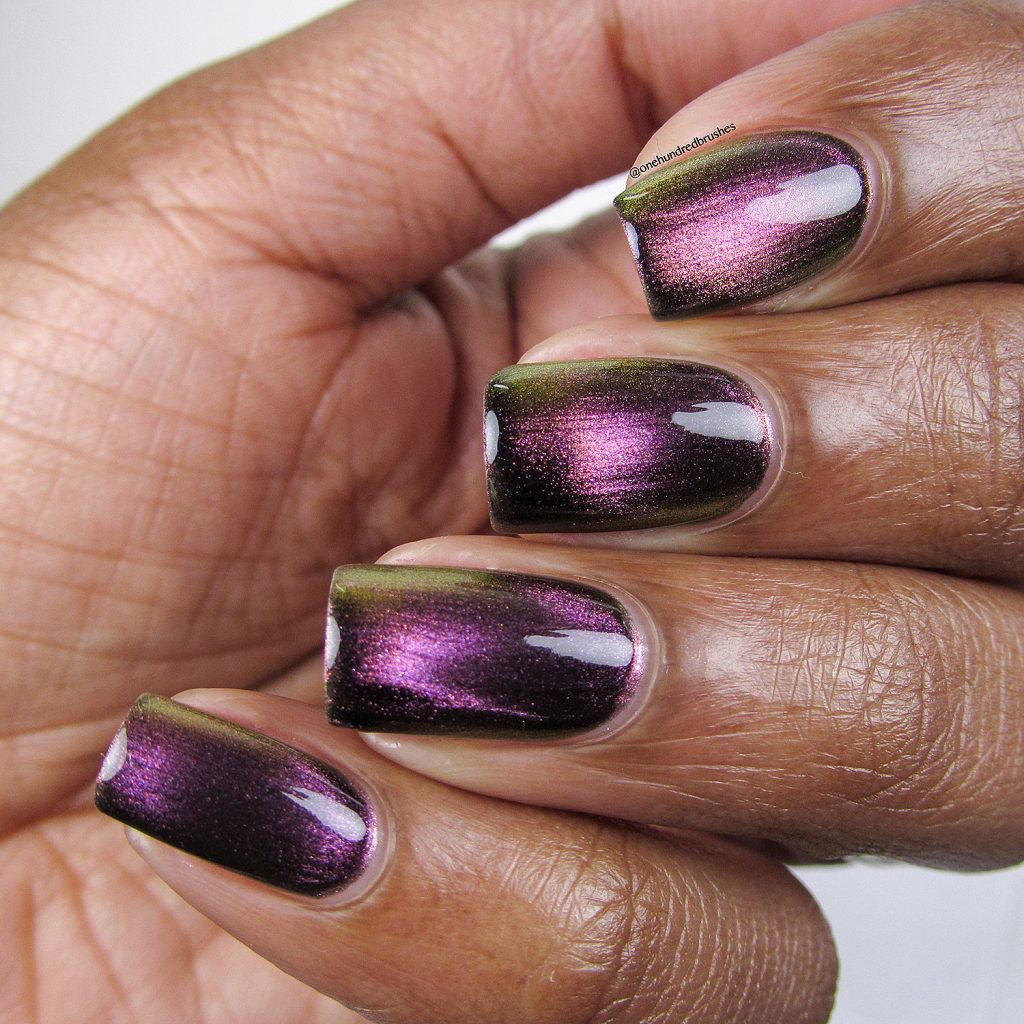 Just A Phase, Launch Party Collection, KB Shimmer, Magnetic polish, angle, One Hundred Brushes