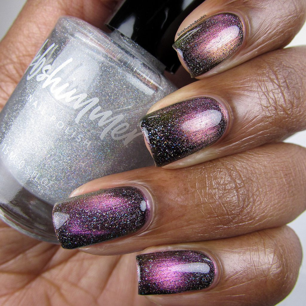 Just A Phase with Star is Formed holographic top coat, Launch Party Collection, KB Shimmer, Magnetic polish, bottle, One Hundred Brushes