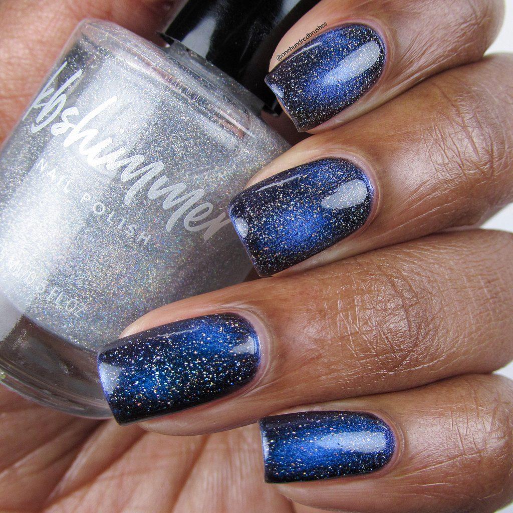 No Comet with Star is Formed holographic topcoat, bottle shot, KB Shimmer, magnetic polish