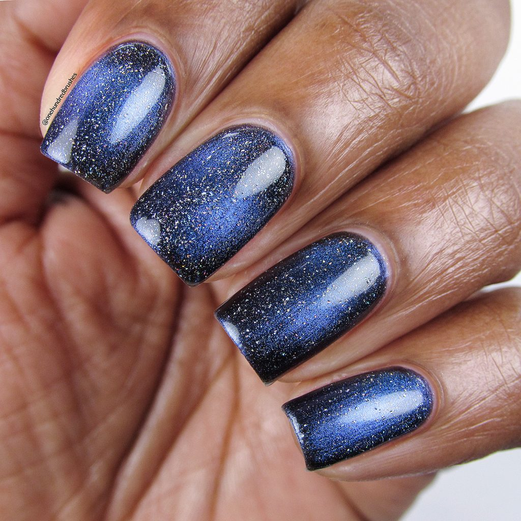 No Comet with Star is Formed holographic topcoat, closeup, KB Shimmer, magnetic polish