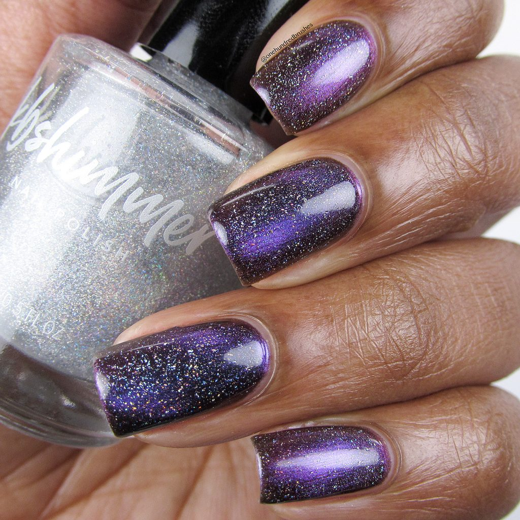 Orbits and Pieces with Star is Formed holographic top coat, Launch Party Collection, KB Shimmer, Magnetic polish, bottle, One Hundred Brushes