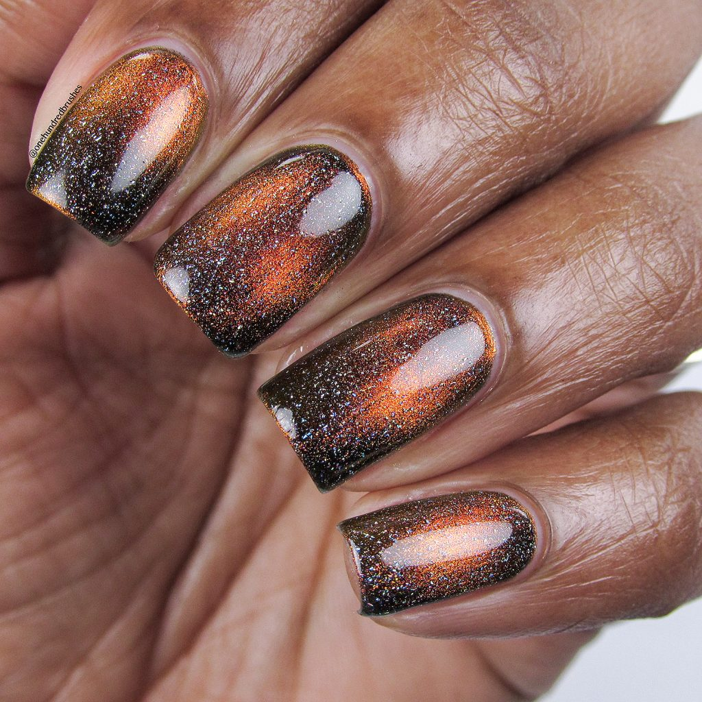 Solar Flair with Star is Formed holographic top coat, bottle shot, magnetic polish, K B Shimmer, Launch Party Collection