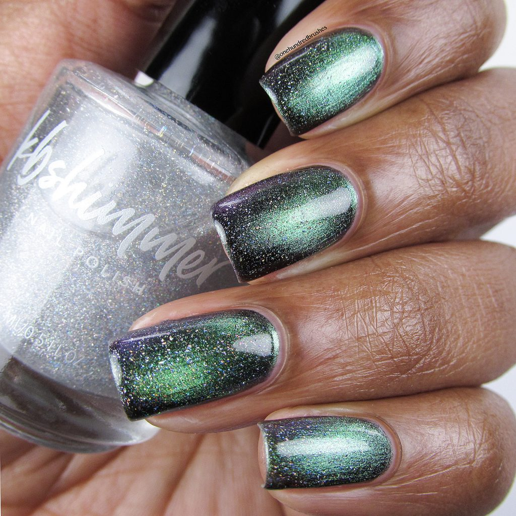 You Rocket My World with Star is Formed holographic top coat, bottle, KB Shimmer, magnetic polish