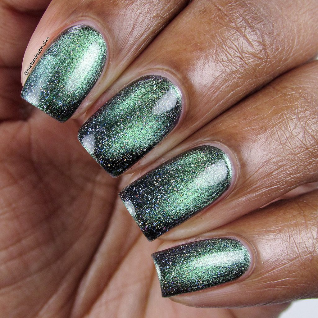 You Rocket My World with Star is Formed holographic top coat, closeup, KB Shimmer, magnetic polish